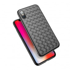 black color Square pattern PU iphone x / xs back cover case