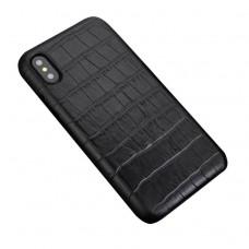 black color Crocodile skin iphone x / xs back case